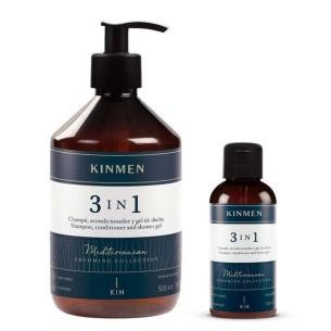 Kinmen 3 en 1 PACK Champú 500+100 ml. -Barbershop product packs -Kin Cosmetics