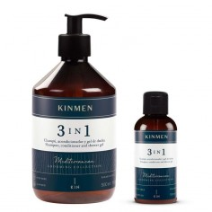 Kinmen 3 in 1 PACK Shampoo 500 + 100 ml. -Barbershop product packs -Kin Cosmetics