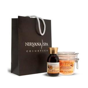 Bolsa Pack Fruta de la Pasión Aceite + Jabón Mousse Exfoliante Nirvana Spa -Cremas hidratantes -Nirvana Spa